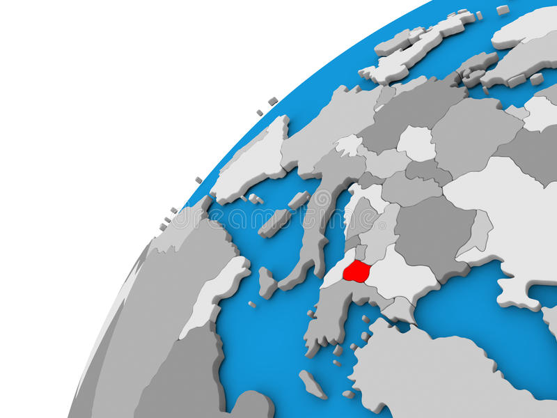 Macedonia on globe in red. Macedonia highlighted in red on globe with visible country borders. 3D illustration royalty free illustration