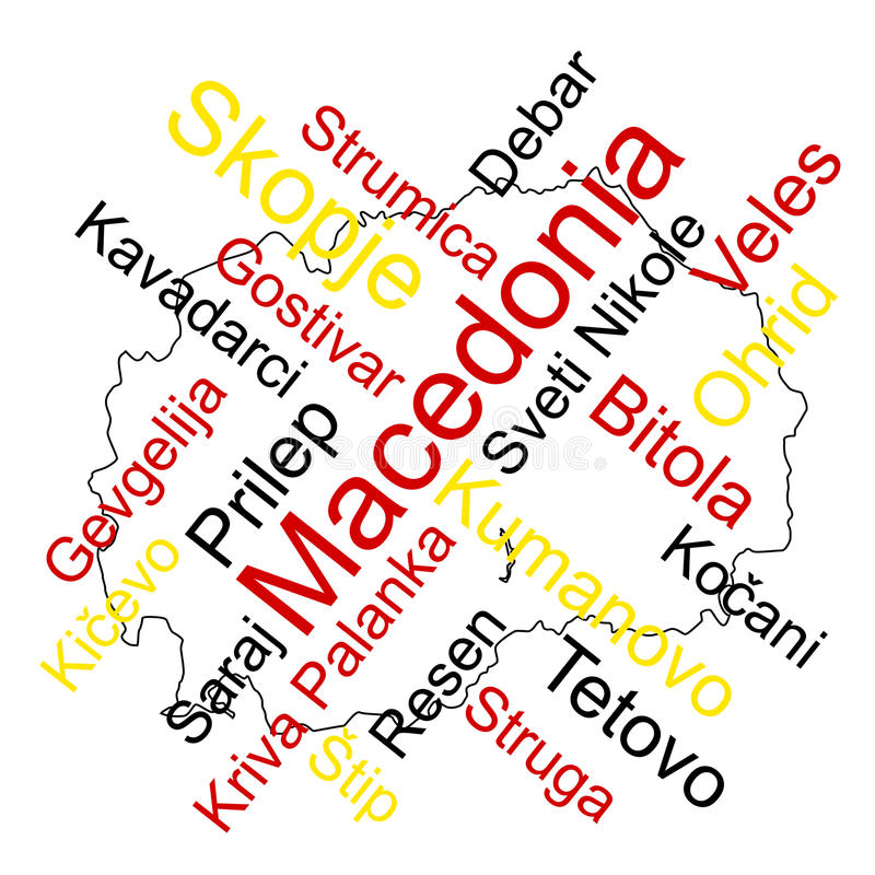 Macedonia map and cities. Macedonia map and words cloud with larger cities royalty free illustration