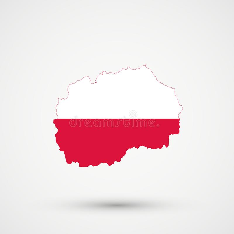 Macedonia map in Poland flag colors, editable vector stock illustration