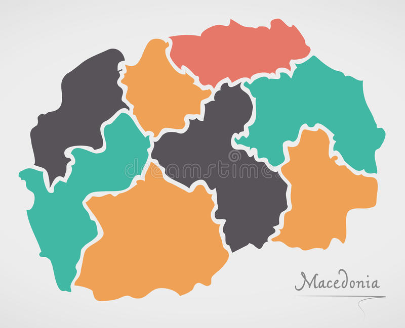 Macedonia Map with states and modern round shapes. Illustration stock illustration