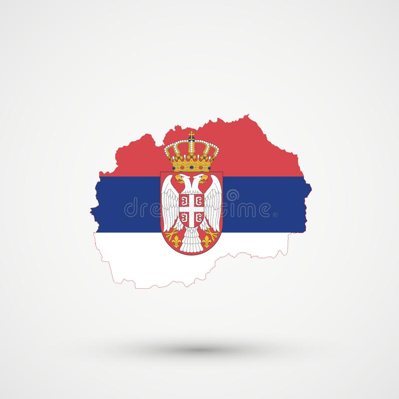 Macedonia mapa w Serbia flagi kolorach, editable wektor zdjęcie stock