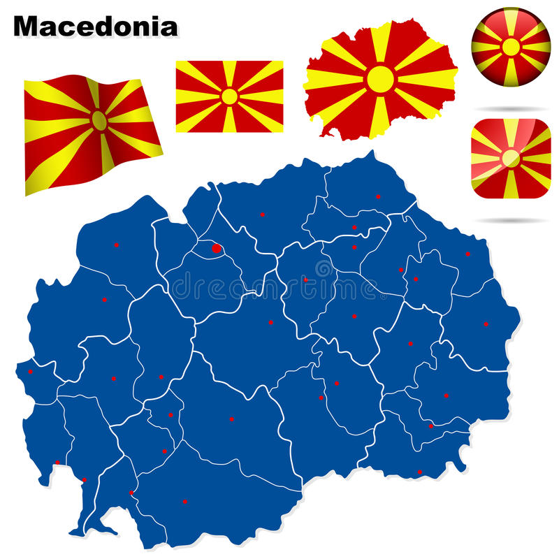 Macedonia set. Detailed country shape with region borders, flags and icons isolated on white background vector illustration