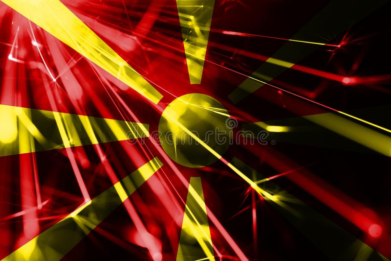 Macedonia shining fireworks sparkling flag. New Year 2019 and Christmas futuristic shiny party concept flag. Macedonia shining fireworks sparkling flag. New vector illustration
