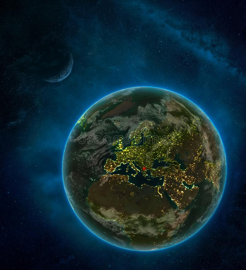 Macedonia from space on Earth at night surrounded by space with Moon and Milky Way. Detailed planet with city lights and clouds. 3D illustration. Elements of stock illustration