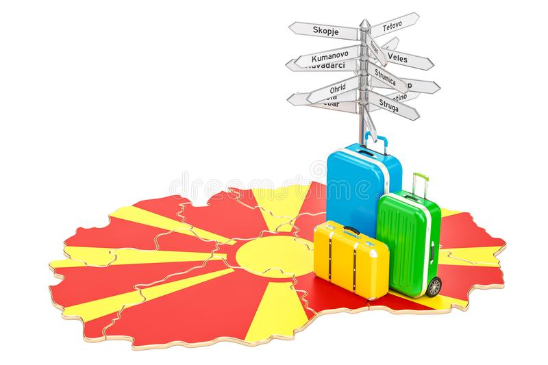 Macedonia travel concept macedonian map with suitcases and sign download macedonia travel concept macedonian map with suitcases and sign stock illustration illustration of publicscrutiny