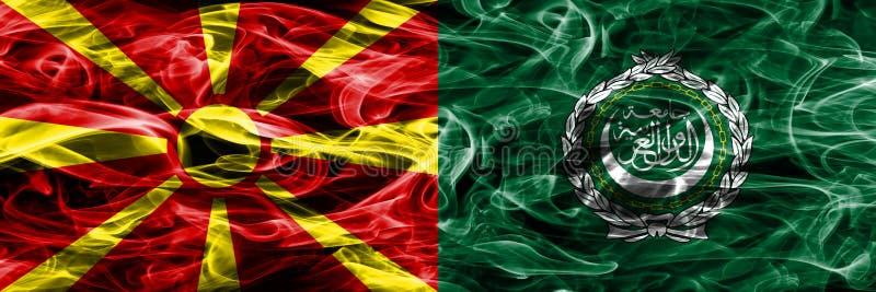 Macedonia vs Arabskiego liga pojęcia dymu kolorowe flaga umieszczająca strona strona - obok - ilustracja wektor