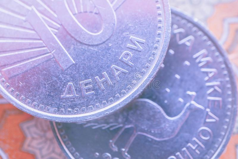 Macedonia waluty denar na banknotu wzoru tle, clo obraz stock