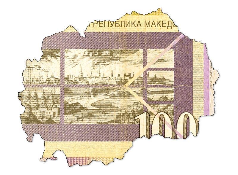 100 macedonian denaru banknot w kształcie Macedonia fotografia stock