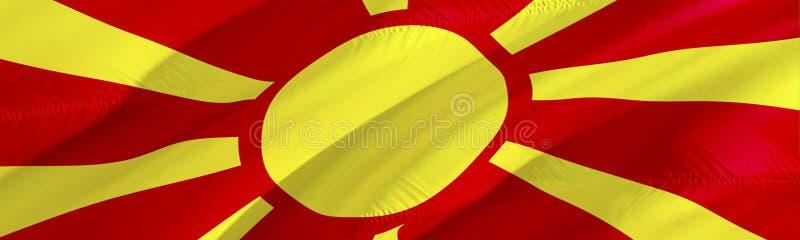 Macedonianen sjunker flagga macedonia vinkande design för flagga 3D, tolkning 3D Det nationella symbolet av den Makedonien bakgru royaltyfria bilder