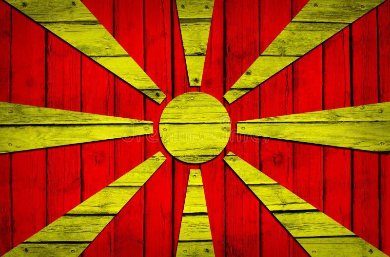 Macedonische die vlag op houten raad wordt geschilderd stock afbeelding
