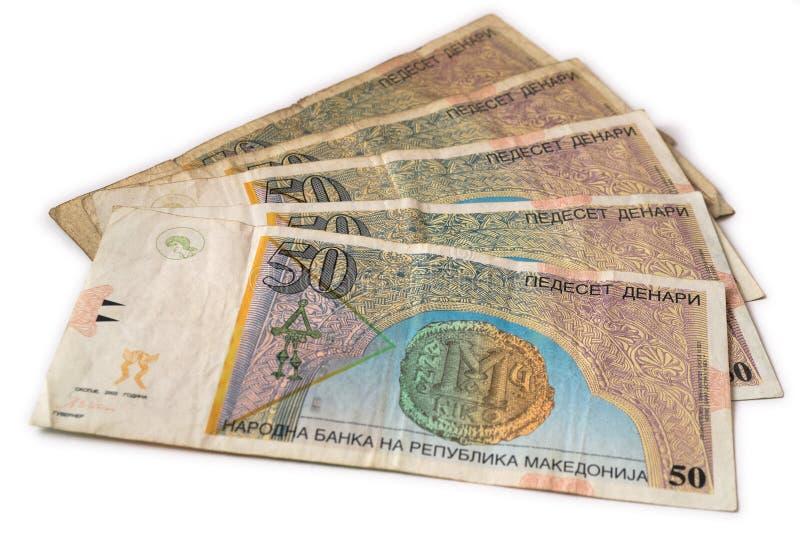 Macedonische muntbankbiljetten - achter stock afbeeldingen