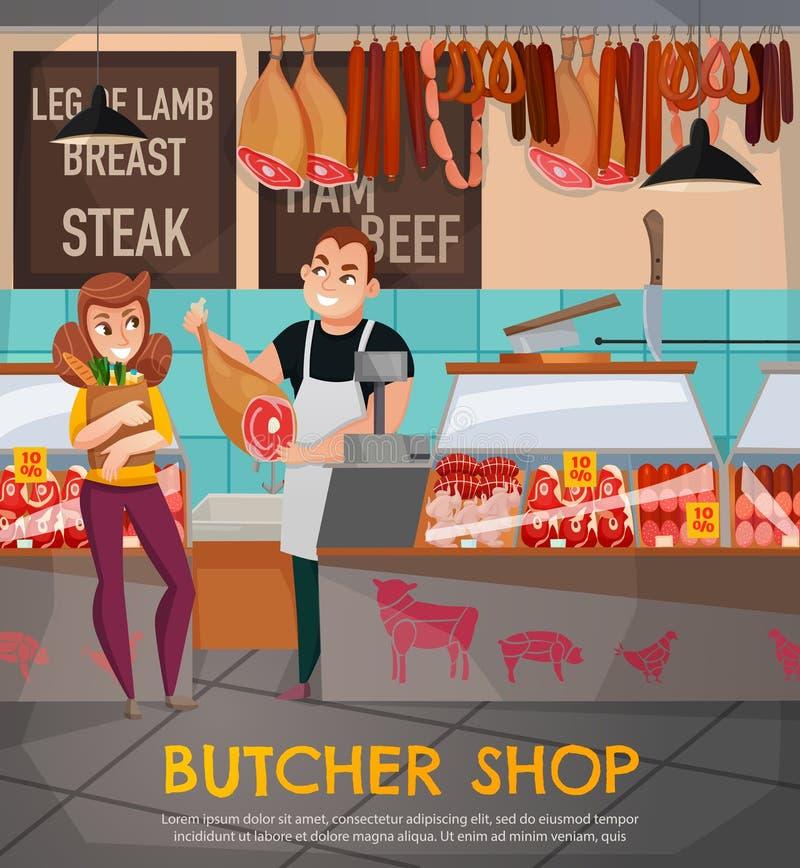 Macellaio Shop Illustration illustrazione di stock