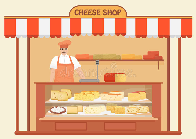 Macellaio Shop Venditore della carne Scaffali di negozio con il genere differente di insieme del formaggio royalty illustrazione gratis