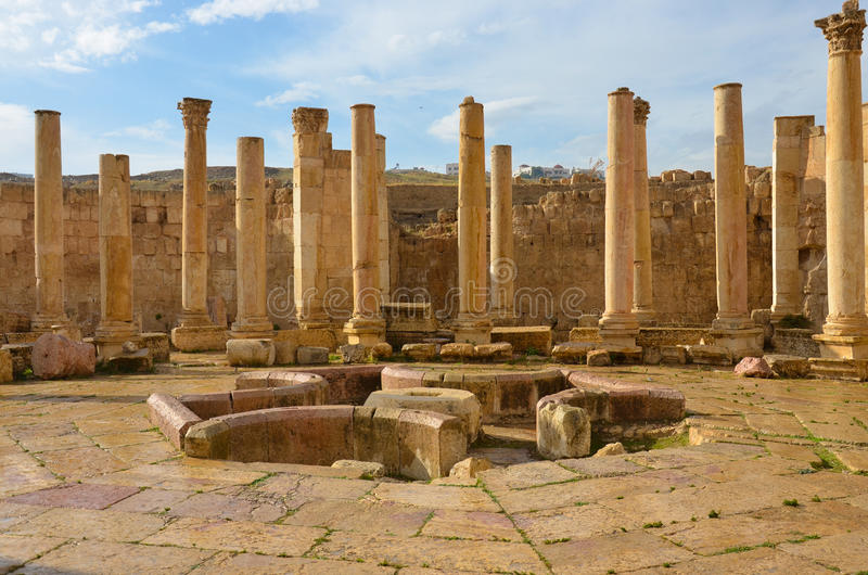 Macellum, Jerash fotografia stock libera da diritti