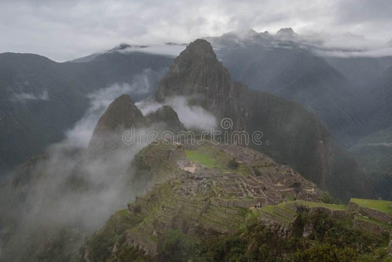 Mach Picchu w mgle obraz stock