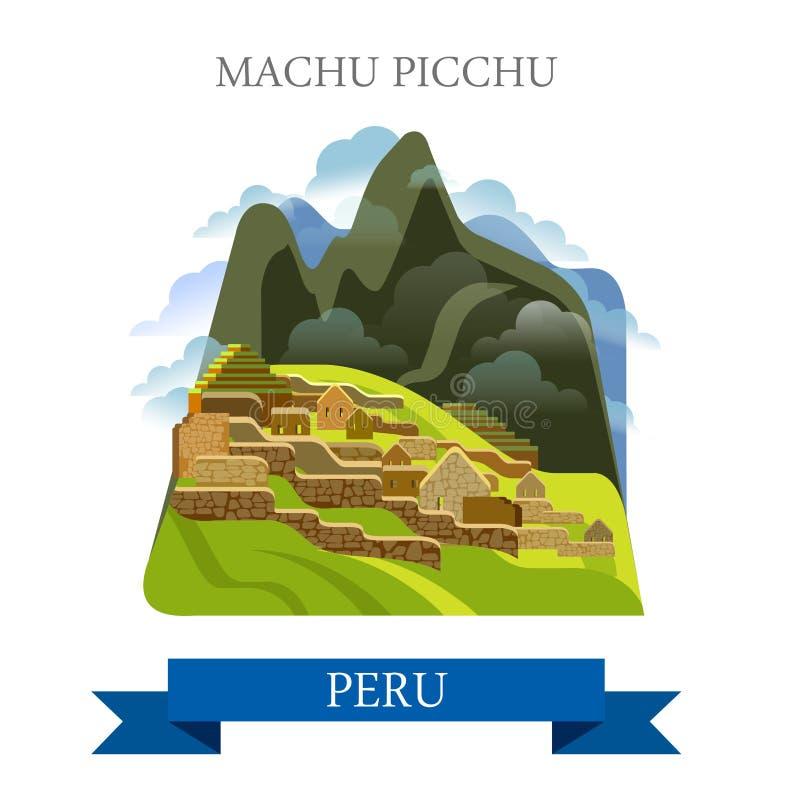Mach Picchu w Peru przyciągania wektorowych płaskich punktach zwrotnych royalty ilustracja