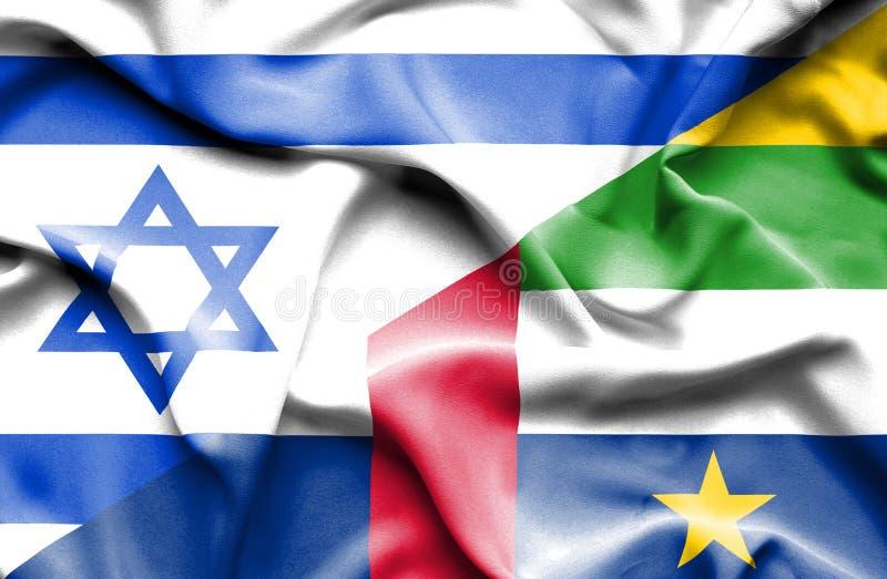 Machać chorągwiany Środkowo-afrykański republika i Izrael royalty ilustracja