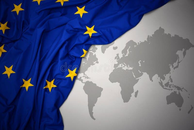 Machać chorągwiany Europejski zjednoczenie royalty ilustracja