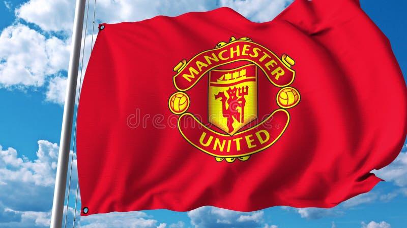 Machać chorągwiany z Manchester United drużyna futbolowa logem Redakcyjny 3D rendering ilustracja wektor