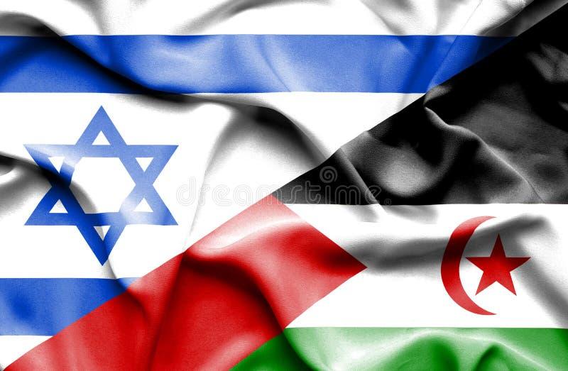 Machać chorągwiany Zachodni Sahara i Izrael ilustracji