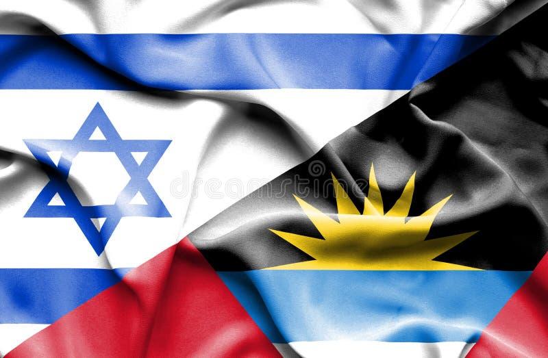 Machać flagę Antigua, Barbuda i Izrael ilustracja wektor