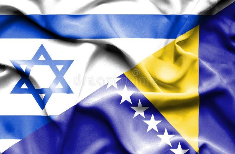 Machać flagę Bośnia, Herzegovina i Izrael ilustracja wektor