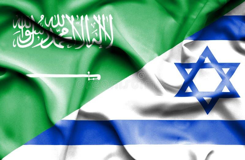 Machać flagę Izrael i Arabia Saudyjska royalty ilustracja