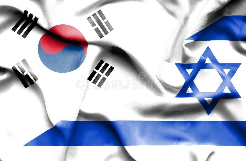 Machać flagę Izrael i korea południowa ilustracji