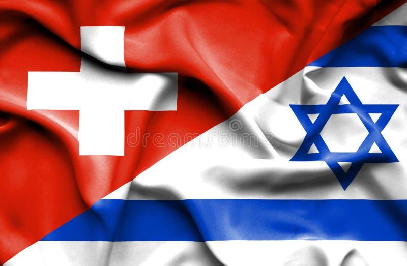 Machać flagę Izrael i Szwajcaria ilustracja wektor