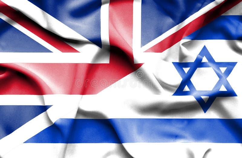 Machać flagę Izrael i Wielki Brytania royalty ilustracja