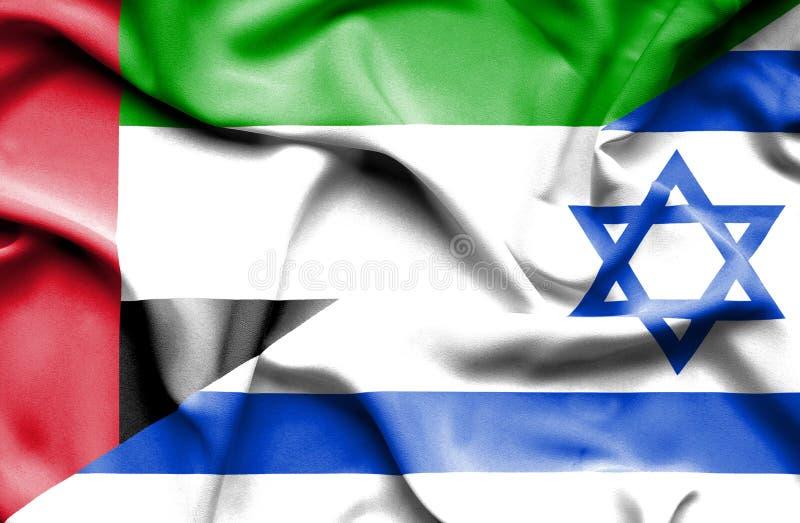 Machać flagę Izrael i Zjednoczone Emiraty Arabskie royalty ilustracja