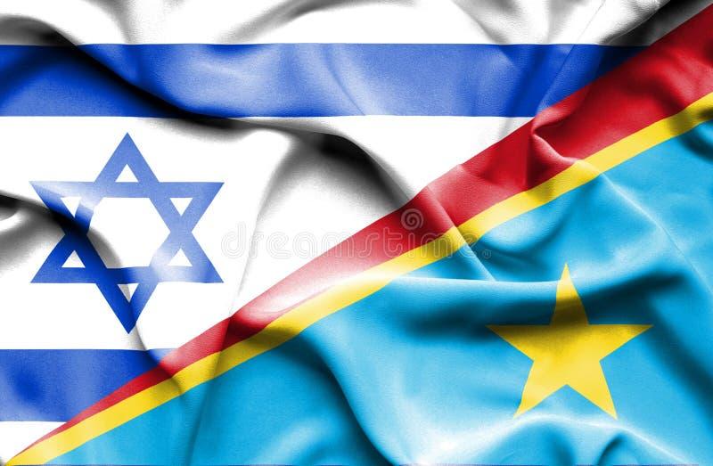 Machać flagę Kongo Demokratyczna republika Izrael i royalty ilustracja