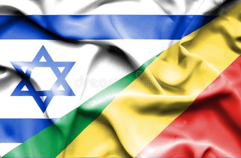 Machać flagę Kongo Izrael i republika ilustracja wektor