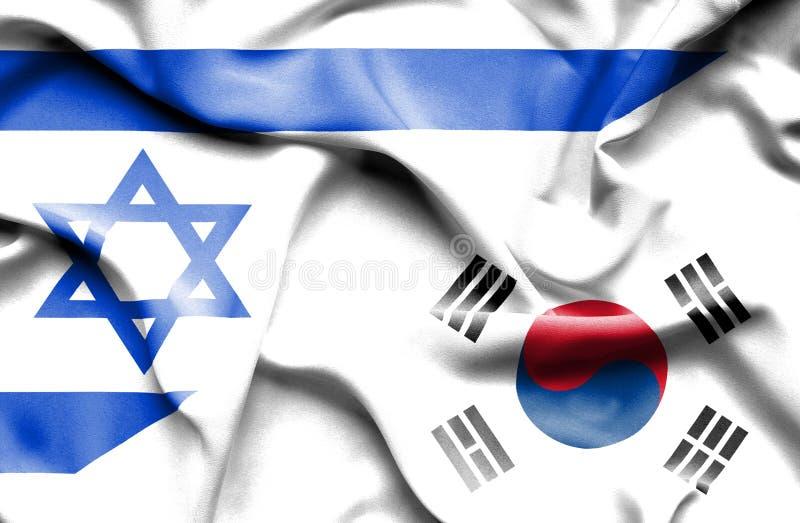 Machać flagę korea południowa i Izrael ilustracja wektor