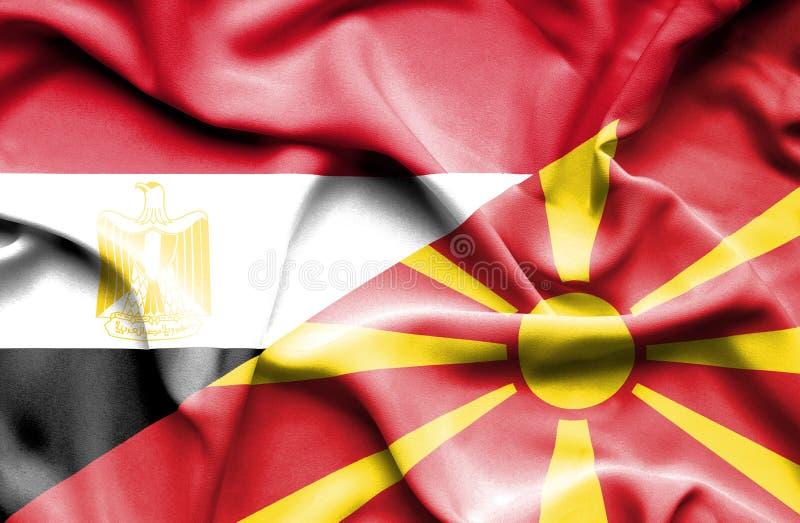 Machać flagę Macedonia i Egipt zdjęcia stock