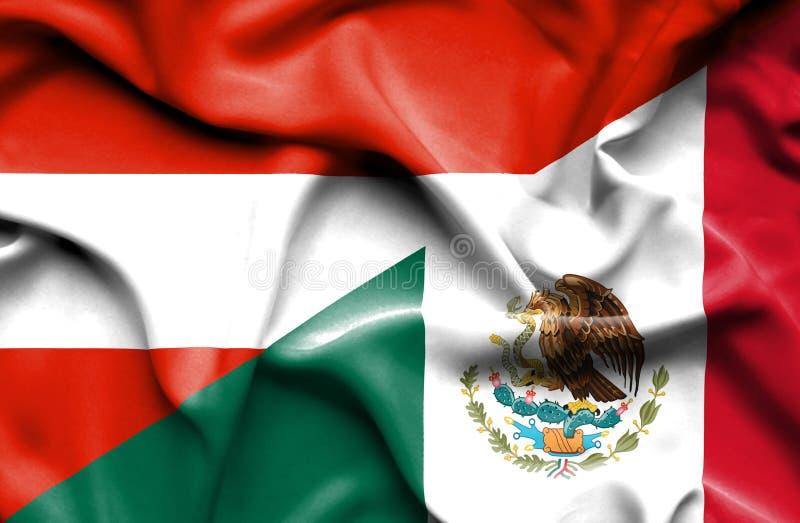 Machać flagę Meksyk i Austria ilustracji