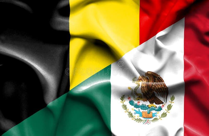 Machać flagę Meksyk i Belgia ilustracja wektor
