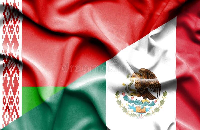 Machać flagę Meksyk i Białoruś ilustracji