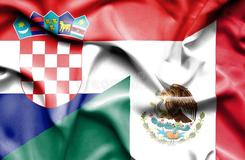 Machać flagę Meksyk i Chorwacja ilustracji