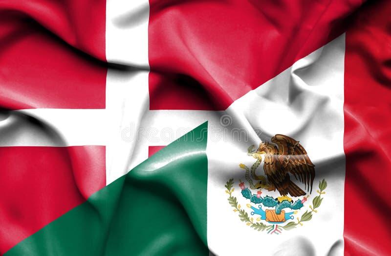Machać flagę Meksyk i Dani ilustracja wektor