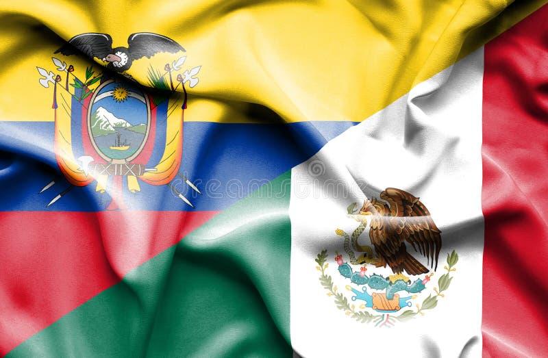 Machać flagę Meksyk i Ekwador ilustracja wektor