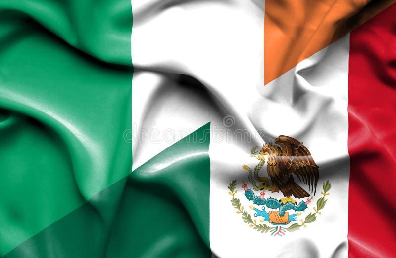 Machać flagę Meksyk i Irlandia royalty ilustracja