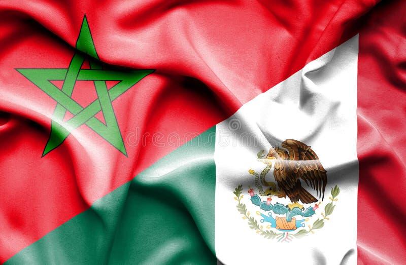Machać flagę Meksyk i Maroko ilustracji