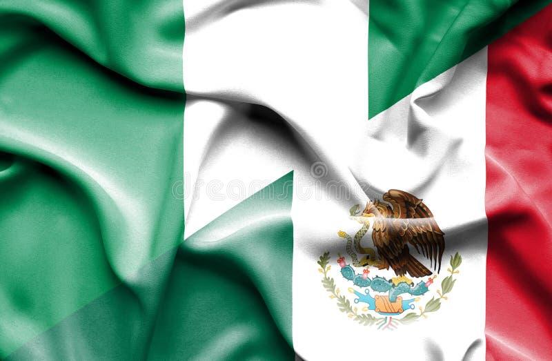 Machać flagę Meksyk i Nigeria ilustracji