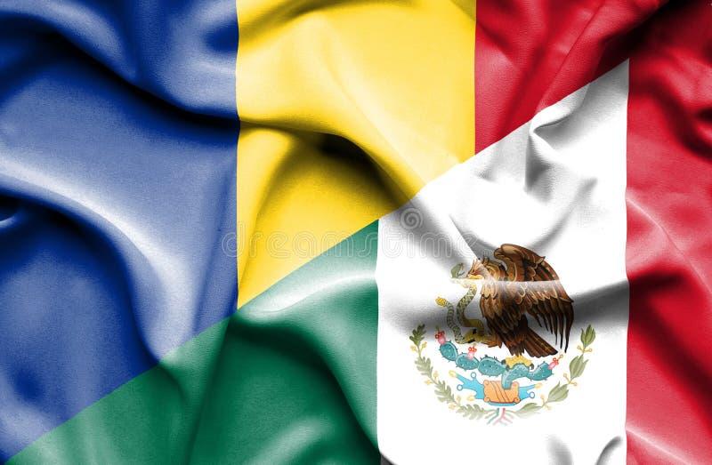 Machać flagę Meksyk i Rumunia ilustracja wektor
