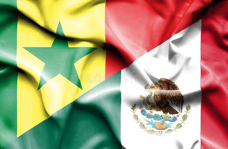Machać flagę Meksyk i Senegal ilustracji