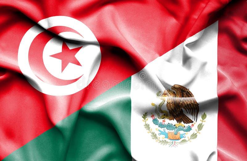 Machać flagę Meksyk i Tunezja royalty ilustracja