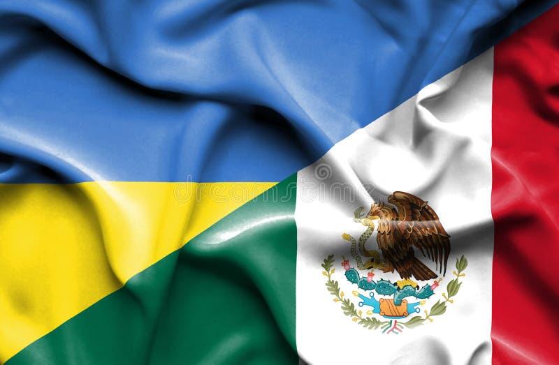 Machać flagę Meksyk i Ukraina ilustracji
