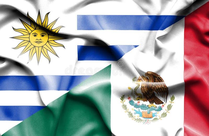 Machać flagę Meksyk i Urugwaj royalty ilustracja