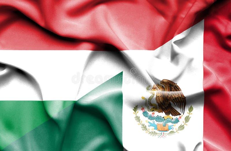 Machać flagę Meksyk i Węgry royalty ilustracja